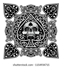 ace of spades with skull, grunge vintage design t shirts