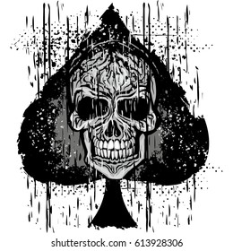 ace of spades with skull, grunge vintage design t shirts