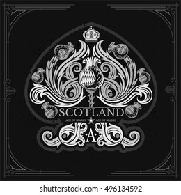 Ace of spades from thistle floral pattern inside. Design element white on black