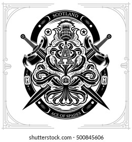 Ace of spades from thistle floral pattern with cross sword and capital letter A inside. Design element black on white