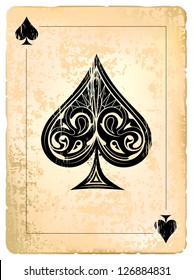 Ace of spades. Vintage style with dirty grunge elements.
