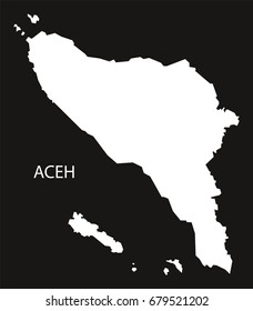 Aceh Indonesia map black inverted silhouette illustration shape