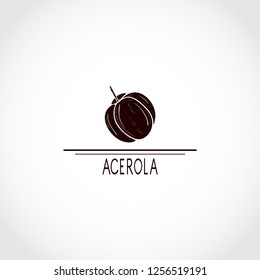 Acerola. Fruit. Black silhouette on white background. logo, icon, emblem.