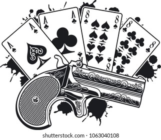Aces and eights, the Dead mans hand and pistol