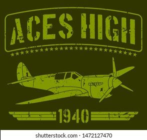 Aces high 1940's world war II airplane in green background with stars. Based in military concept art. Vector illustration
