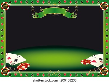 Aces on the table. A background with gambling elements (cards and Gambling Chips) on a table. It's ideal to promote a tournament of poker.