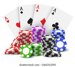 Aces with realistic stack or heap of sport betting chips. Cards and pile, tower of casino cash for play or game. Red and green, blue and black money for internet, online gambling site or poker room.