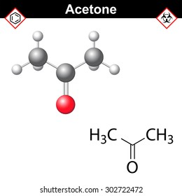 Acetone molecule - structural chemical formula and model, one of main organic solvents, 2d and 3d isolated on white background, vector, eps 8