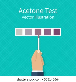 Acetone test. Medical diagnostics Expres concept. Man holding a paper strip with the indicator. Concordance Table. Vector illustration flat design.