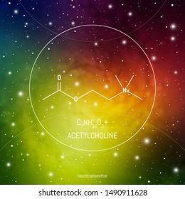 Acetylcholine neuro transmitter molecule and formula in front of cosmis background. Brain chemistry infographic.