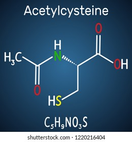 Acetylcysteine (N-acetylcysteine, NAC) drug molecule. Structural chemical formula and molecule model on the dark blue background. Vector illustration