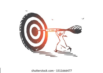 Achievement, aim, skill concept sketch. Hand drawn isolated vector