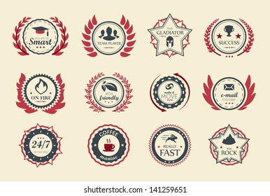 Achievement badges for games or applications.