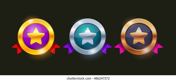 Achievement Badges in Gold, Silver and Bronze. Winner icon. Medal icon. Game rating icons with medals. Level results vector icon design for game.