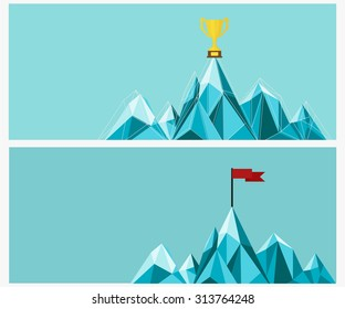 Achievement banner set. Trophy and Flag on mountain. Vector Illustration.