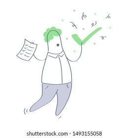 Achievement, completed task, resolved issue concept. Happy cartoon character holds a tick and to-do list in his hands. Flat thin line vector illustration on white background.