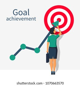 Achievement goal concept. Businesswoman in suit  raises up arrow chart to target. Vector illustration flat design. Isolated on background. Aspiration to victory. Ambition business.
