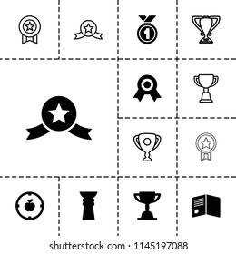 Achievement icon. collection of 13 achievement filled and outline icons such as trophy, medal with star, medal, apple target. editable achievement icons for web and mobile.