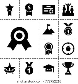 Achievement icons. set of 13 editable filled achievement icons such as graduation cap, medal, dollar award, apple target, 1st place star, ranking, flag on mountain