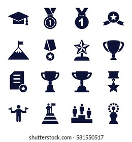 achievement icons set. Set of 16 achievement filled icons such as man with flags, graduation cap, trophy, medal, ranking, star trophy, man at the top of the mountain with flag