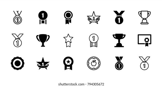 Achievement icons. set of 18 editable filled and outline achievement icons: medal, award, 1st place star, diploma, trophy, number 1 medal, apple target
