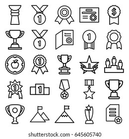 Achievement icons set. set of 25 achievement outline icons such as trophy, ranking, 1st place star, diploma, medal, flag on mountain, number 1 medal, medal with star