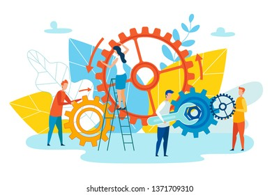 Achievement Level Employee Interaction Cartoon. Group People Set up Mechanism with Wrench. Team Leader Metaphor and Employee Solve Brainstorm. Vector Illustration on White Background.