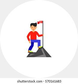 Achievement of Man on Mountain Top Icon