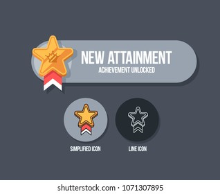 Achievement panel design. Attainment banner concept with