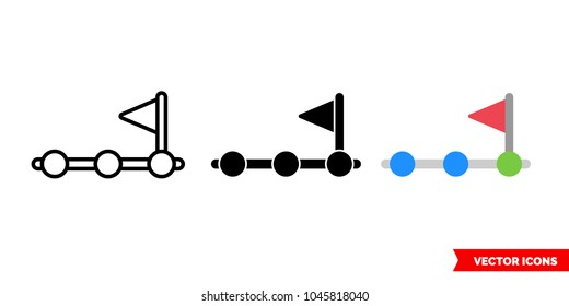 Achievement step icon of 3 types: color, black and white, outline. Isolated vector sign symbol.
