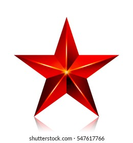 Achievement Vector Star. Red Sign. Decoration Symbol. 3d Shine Icon Isolated On White Background.