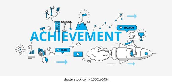 Achievement website banner. Modern illustration in linear style.
