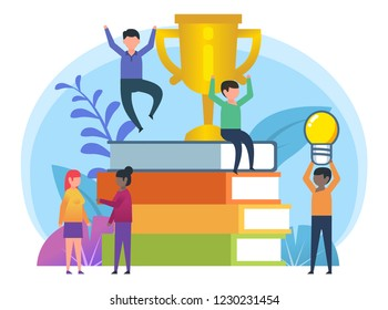 Achievements in education, studying, learning. Small people stand near big stack of books, golden cup. Poster for presentation, web page, banner, social media. Flat design vector illustration