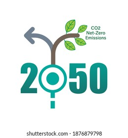 Achieving CO2 net-zero emissions by 2050 typographic design. Timeline junction infographic concept. Vector illustration outline flat design style.