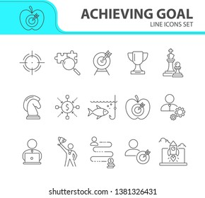 Achieving goal icon set. Line icons collection on white background. Decision, goal, target. Innovation concept. Can be used for topics like strategy, business, start-up