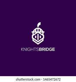 Achilles Titan spartan Knight helmet and bridge logo design vector icon illsutration inspiration