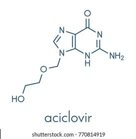Aciclovir (acyclovir) antiviral drug molecule. Used in treatment of herpes simplex virus (cold sores), herpes zoster (shingles) and varicella zoster (chickenpox). Skeletal formula.