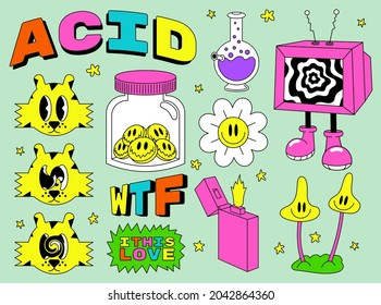 Acid abstract characters and objects. In a cartoon style, a set of bright psychedelics, all elements are isolated