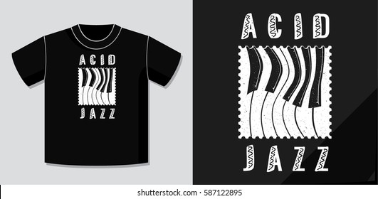 Acid Jazz Calligraphy Illusion Logo Lettering and Distorted Piano Keys on Dot Stamp with Application Example on T-Shirt Vector Template - White on Black Background - Flat Contrast Graphic Design