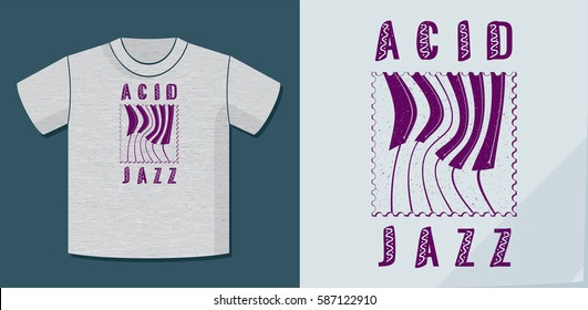 Acid Jazz Calligraphy Illusion Logo Lettering and Distorted Piano Keys on Dot Stamp with Application Example on T-Shirt Template - Purple on Heather Grey Background - Flat Contrast Graphic Design