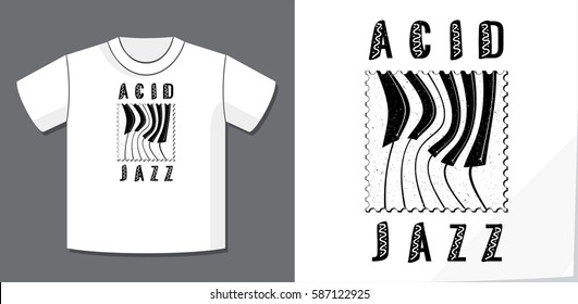 Acid Jazz Calligraphy Illusion Logo Lettering and Distorted Piano Keys on Dot Stamp with Application Example on T-Shirt Vector Template - Black on White Background - Flat Contrast Graphic Design