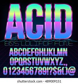 Acid Lollipop style Retro futurism 80's sci-fi metallic chrome violet colored bright style action movie vector font set.
