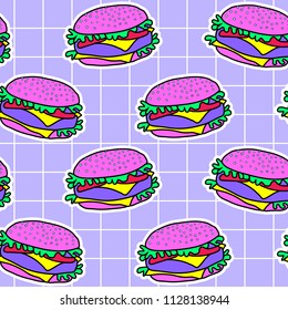 Acid psychedelic burger seamless pattern. Hamburger - fast food concept, Hand Drawn vector illustration. Purple background.