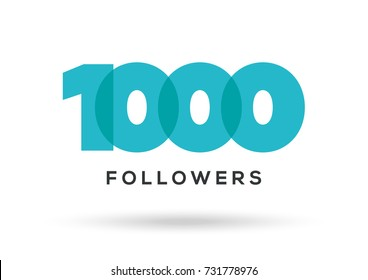 Acknowledgment Image 1000 Followers, Blue Letters On White Background, Vector Illustration