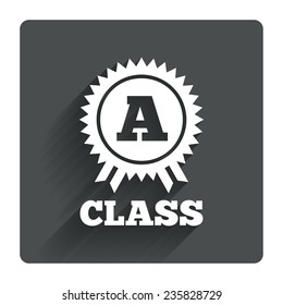 A-class award icon. Premium level symbol. Energy efficiency sign. Gray flat square button with shadow. Modern UI website navigation. Vector