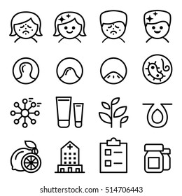 Acne icon set in thin line style