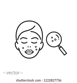 acne on skin icon, problem skin, dermatology linear sign on white background - editable vector illustration eps10
