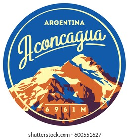 Aconcagua in Andes, Argentina outdoor adventure badge. High mountain illustration.