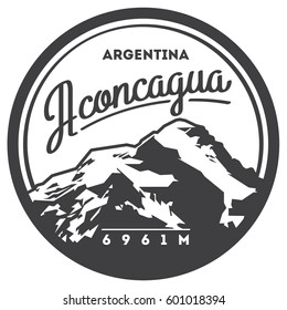Aconcagua in Andes, Argentina outdoor adventure badge. High mountain illustration. Climbing, trekking, hiking, mountaineering and other extreme activities logo template.