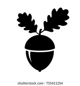 Acorn autumn vector icon illustration isolated on white background